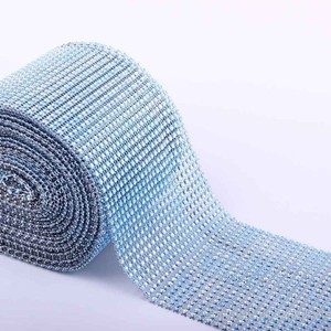 Blue - 10 Yards 24 Rows Diamond Mesh Wrap Roll Rhinestone Crystal Looking Ribbon Trim Wedding