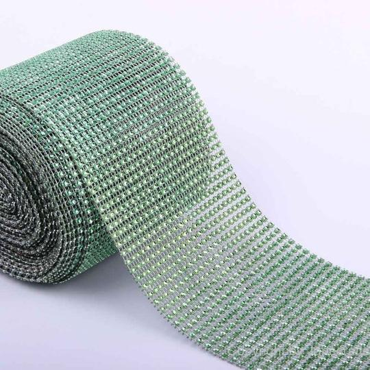 Green - 10 Yard/30 Feet 24 Rows Diamond Mesh Wrap Roll Rhinestone Crystal Looking Ribbon Trim Wedding Cake Wrapping