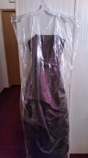 David's Bridal Plum Satin Strapless Formal Bridesmaid/Mob Dress Size 6 (S) Image 6