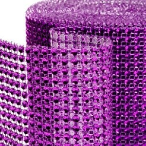 Purple - 10 Yards 24 Rows Diamond Mesh Wrap Roll Rhinestone Crystal Looking Ribbon Trim Wedding