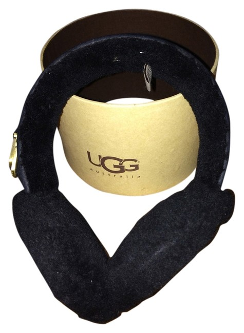 "Item - Black with Gold Double ""U"" Shearling Earmuffs"