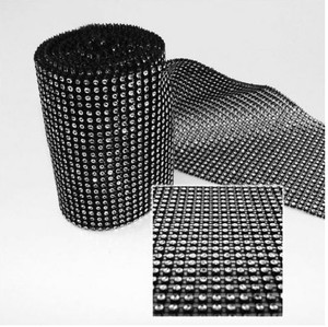 Black - 30 Feet 24 Rows Diamond Mesh Wrap Roll Rhinestone Crystal Looking Ribbon Trim Wedding 10 Yards