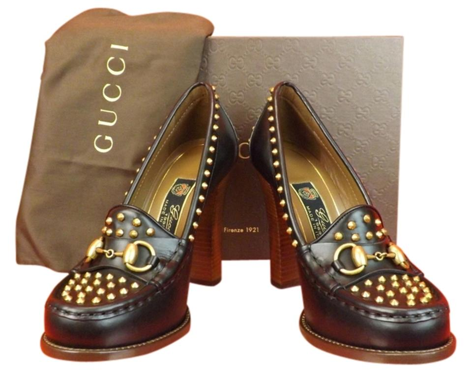 1c011a2ee71 Gucci Black Horsebit Leather Alyssa Studded Spikes Loafers 36.5 Pumps