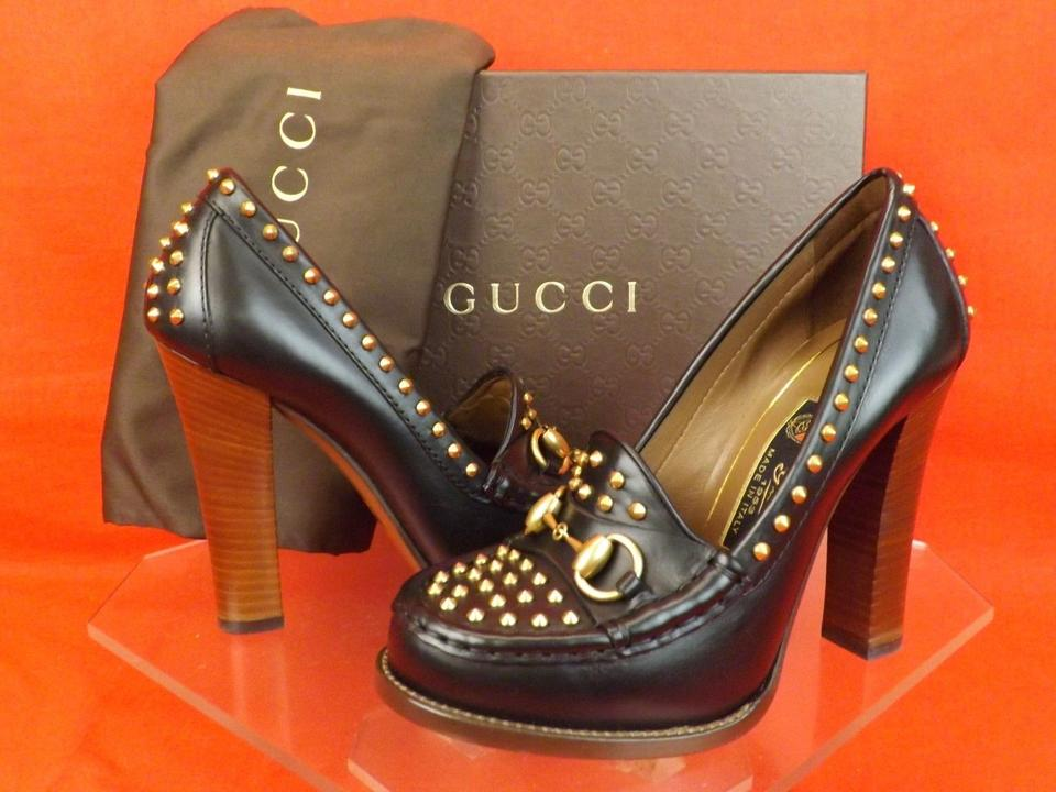 f914b41c317 Gucci Black Horsebit Leather Alyssa Studded Spikes Loafers 36.5 Pumps Size  US 6.5 Regular (M