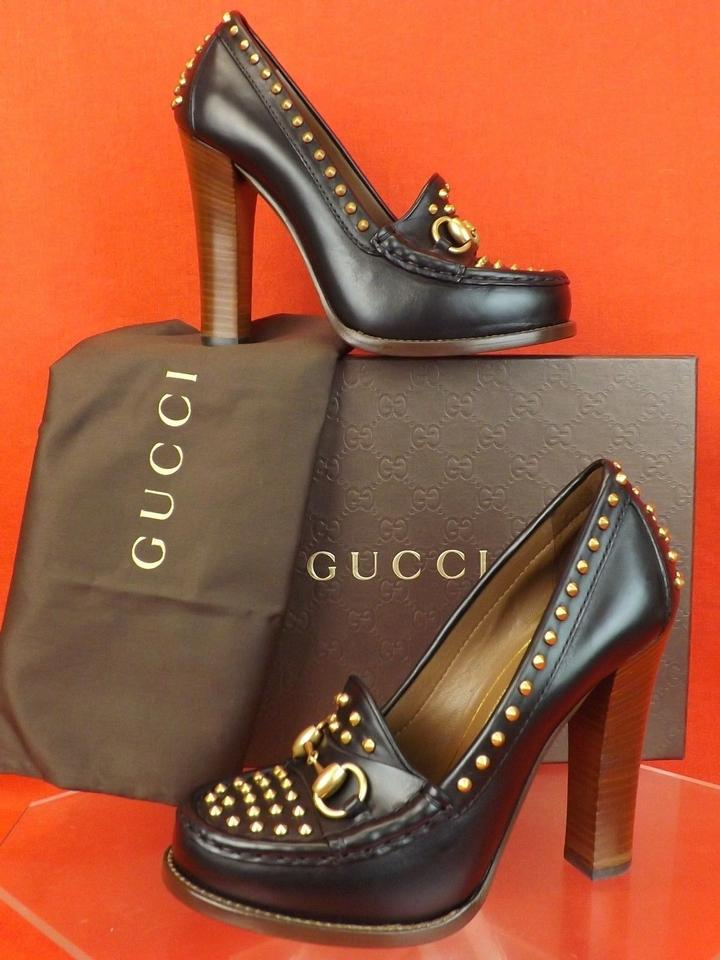 decb611804b Gucci Black Horsebit Leather Alyssa Studded Spikes Loafers 36.5 ...