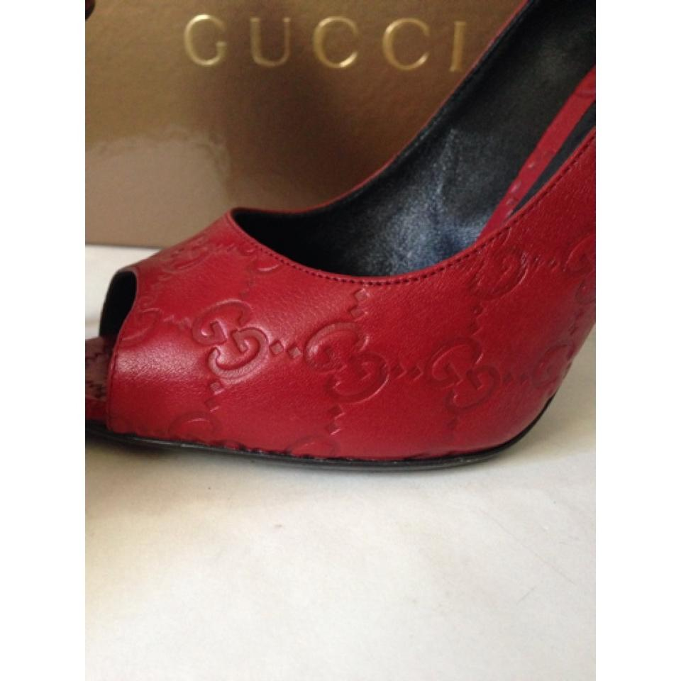 c8590856481 Gucci Red Embossed Leather Peep Toe High Heels Formal Shoes Size US ...