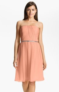 Donna Morgan Peach Fuzz Silk Chiffon Traditional Bridesmaid/Mob Dress Size 2 (XS)