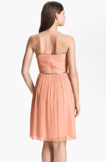 Donna Morgan Peach Fuzz Silk Chiffon Traditional Bridesmaid/Mob Dress Size 2 (XS) Image 1