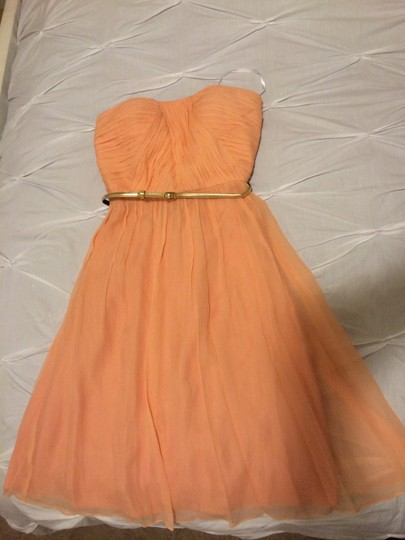 Donna Morgan Peach Fuzz Silk Chiffon Traditional Bridesmaid/Mob Dress Size 2 (XS) Image 2