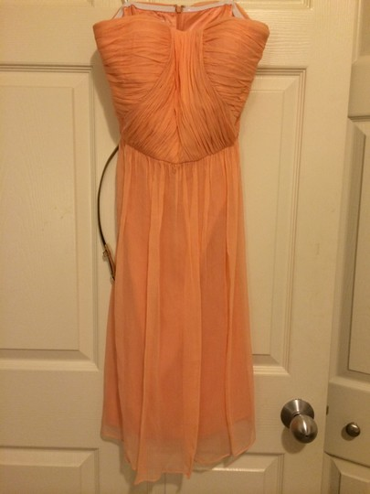 Donna Morgan Peach Fuzz Silk Chiffon Traditional Bridesmaid/Mob Dress Size 2 (XS) Image 3