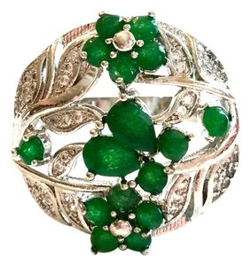 Beautiful Natural Emeralds and Top Quality CZ 925 Sterling Silver Cocktail Ring