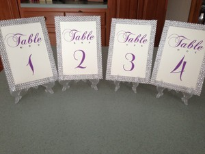 Rhinestone Trimmed Table Numbers with Swarovski Crystal and Display Stand Other