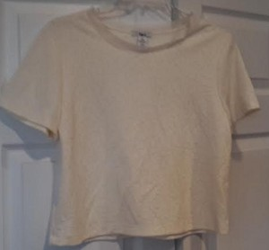 Bar III Crop Machine Wash Top Ivory