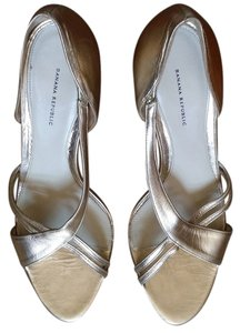Banana Republic Leather Pump Gold D'orsay Pale Gold Sandals