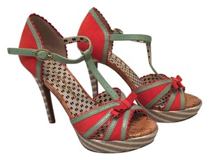 Jessica Simpson Heels Multi Colored Teal coral Sandals