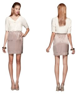 Zara Office Party Silk Beige Silky Satin Skirt Taupe