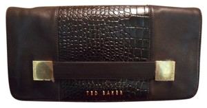 Ted Baker Raschel Textured Metal Squares Leather Nwt New Black Clutch