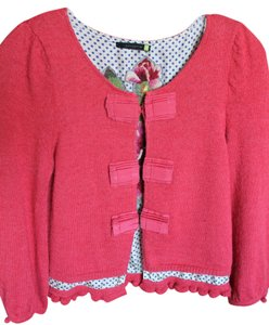 Leifsdottir Alpaca/silk Hook Closure Embroidered Flower Ruffle Sweater
