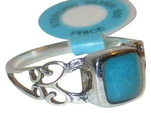 Genuine Sterling Silver Natural Blue Turquoise 7mm Gemstone Filigree Celtic Band Size 5 6 7 8 9