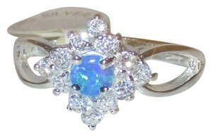 Other Genuine Sterling Silver Natural Blue Turquoise Gemstone Halo White Topaz Accents Split Shank Band Size 5 6 7 8 9