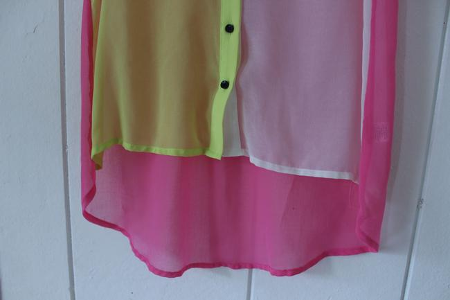 Nasty Gal Button Down Shirt Yellow/Pink/White