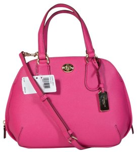 Coach Crossgrain Leather Satchel in Pink Ruby