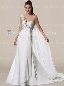 White Chiffon Bc587 Wedding Dress Size 4 (S)