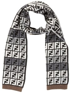 Fendi Black, grey, ivory Fendi Zucca monogram wool long wide scarf New