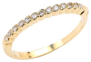 White diamond band, 14K yellow gold, wedding band