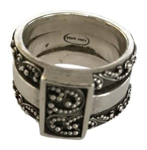 Judith Jack Judith Jack Sterling Silver wide band ring with scrolling