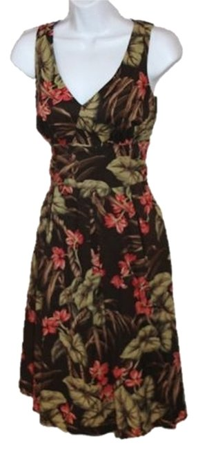Item - Brown with Green Floral Knee Length Long Work/Office Dress Size 4 (S)