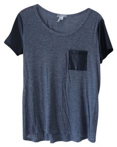 Kirra Faux Leather T Shirt Grey/Black