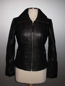 Michael Kors M62907fnr Womens Leather Motorcycle Biker Coat Black Jacket