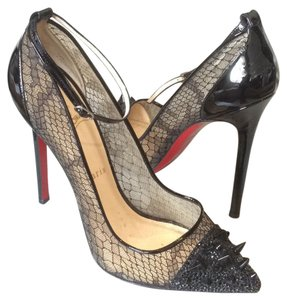 Christian Louboutin 120mm Mesh Lace Spiked Black Pumps