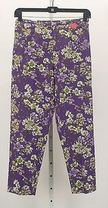 Worth Multi Floral X 27 Ankle B173 Capri/Cropped Pants Purple, Lavender, Green, White, Brown