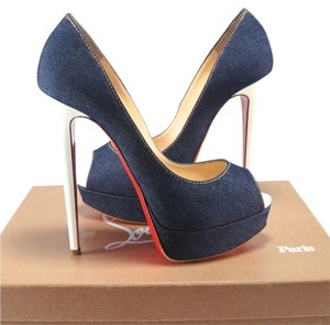Christian Louboutin Denim Lady Peep 150mm 38.5 blue Pumps