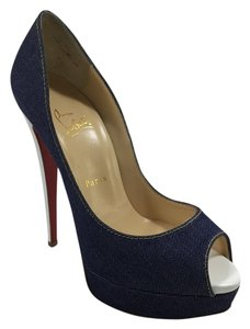 Christian Louboutin Lady Peep 150mm 38.5 Denim Blue Platforms