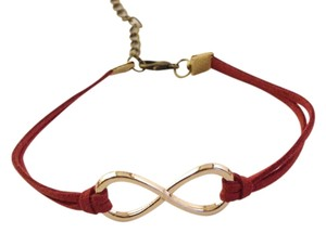 Infinity bracelet, infinity charm bracelet, gold plated infinity leather , red