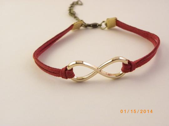 Other Infinity bracelet, infinity charm bracelet, gold plated infinity leather , red