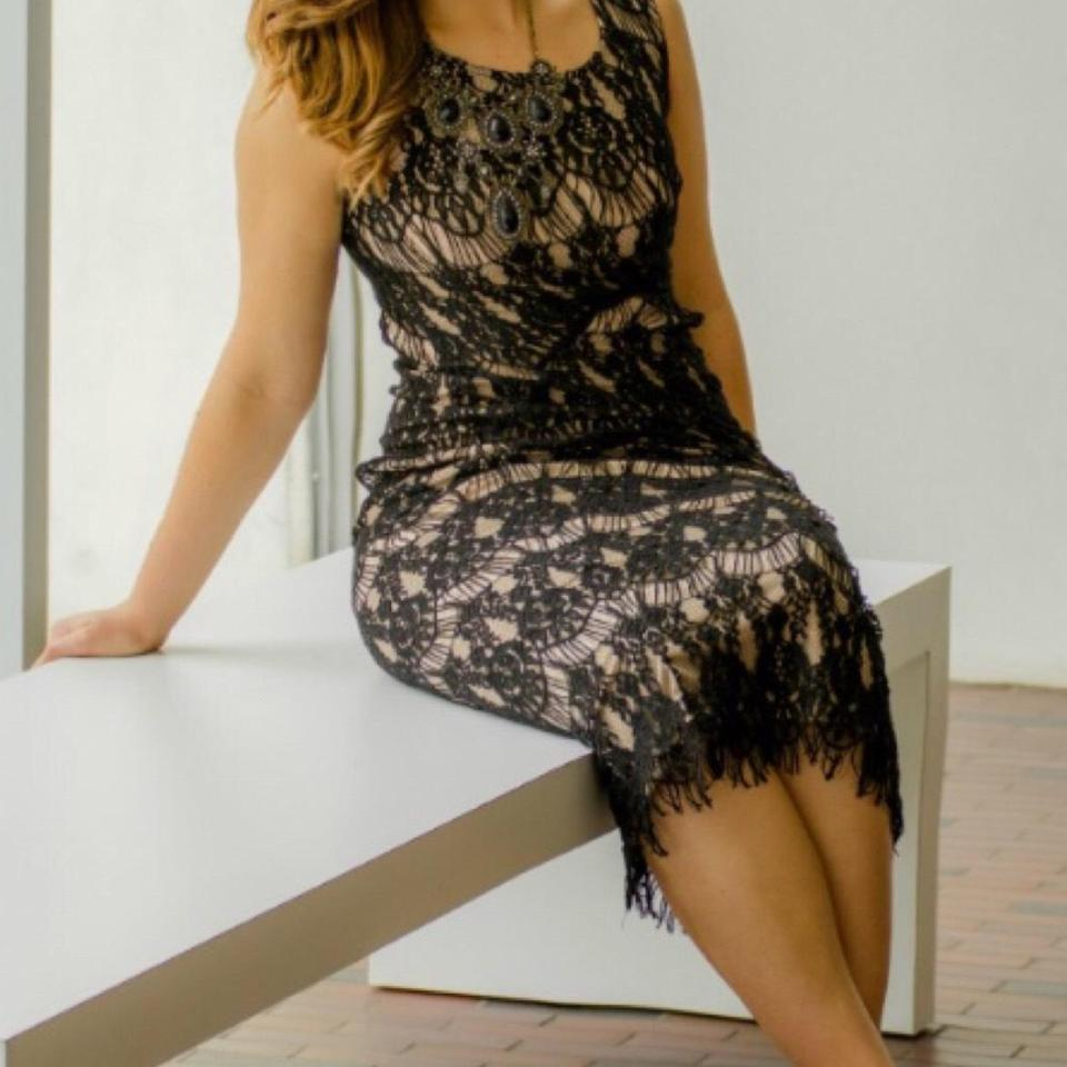 1055658f Rachael & Chloe Black Lace and Beige Lining Long Night Out Dress Size 8 (M)