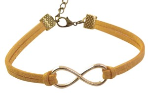 Other Infinity bracelet, infinity charm bracelet, gold plated infinity leather , orange