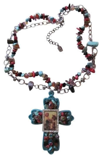Preload https://img-static.tradesy.com/item/722898/turquoise-red-black-light-brown-pendant-cross-with-picture-necklace-0-0-540-540.jpg