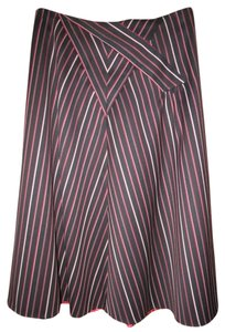 Kenzo A-line Wool Striped Paris Skirt Black with Stripes