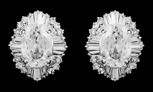 Outstanding Quality Oval And Bagette Cz Stud Bridal Earrings