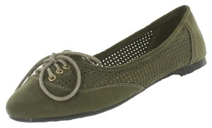 Red Circle Footwear Lace Casual Laser Cut Olive Flats