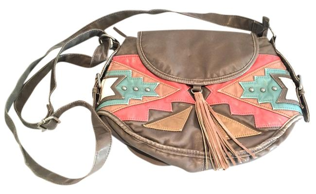 Item - Gray / Cream / Teal / Peach Leather Cross Body Bag