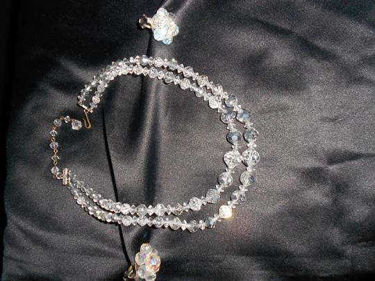 VINTAGE GOURGEOUS 2 STRAND GRADUATED AB CRYSTAL NECKLACE/EARRINGS