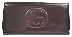 Gucci Auth GUCCI GG Logos Bifold Long Wallet Purse Leather Purple Italy VTG