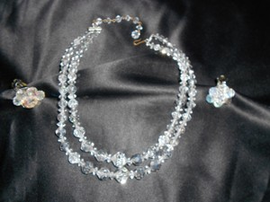 2 Strand Graduated Ab Crystal Necklace With Matching Earrings