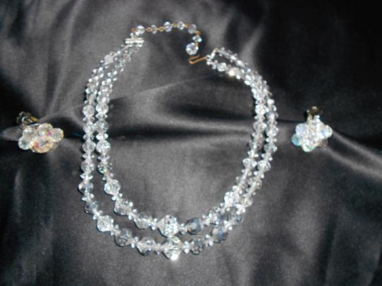 Ab Clear 2 Strand Graduated Crystal with Matching Earrings Necklace
